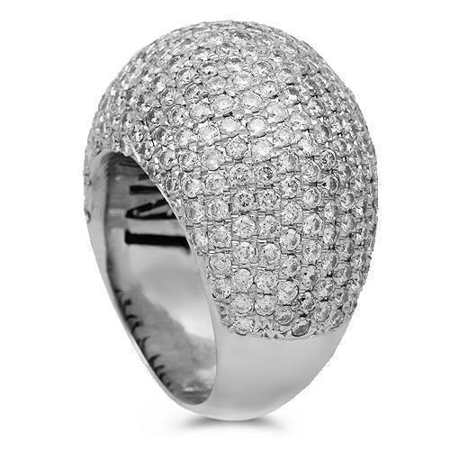 14K Solid White Gold Mens Diamond Pinky Ring 7.95 Ctw