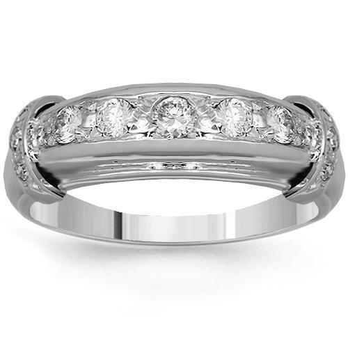 14K Solid White Gold Mens Diamond Wedding Band 0.50 Ctw