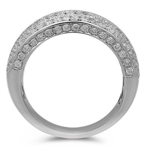14K Solid White Gold Mens Diamond Wedding Band 3.08 Ctw