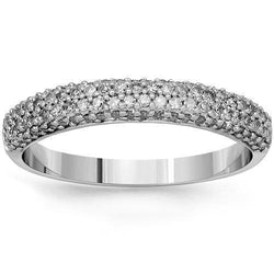 14K Solid White Gold Mens Diamond Wedding Ring Band 1.00 Ctw