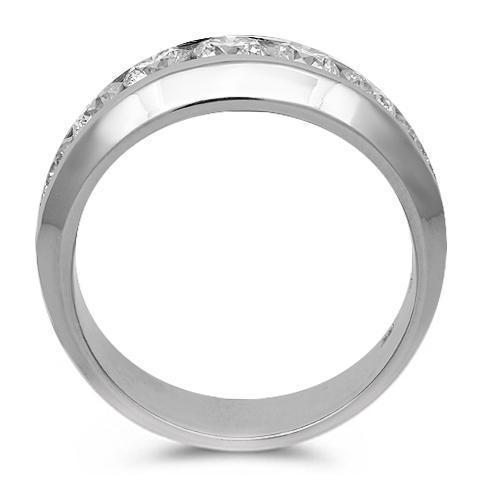 14K Solid White Gold Mens Diamond Wedding Ring Band 2.50 Ctw