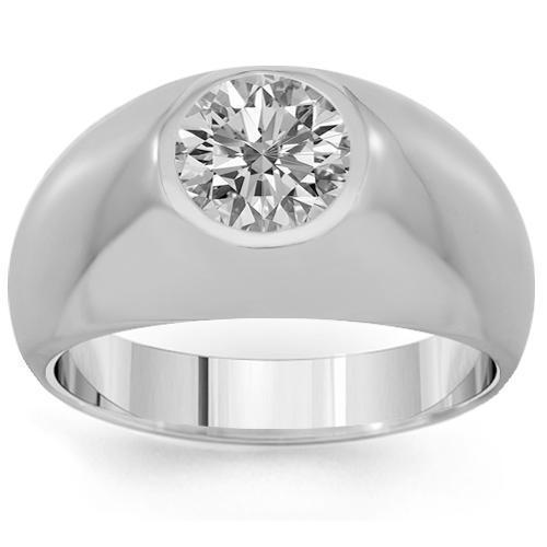 14K Solid White Gold Mens Solitaire Clarity Enhanced Diamond Ring 1.00 Ctw