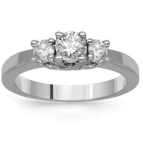 14K Solid White Gold Three Stone Diamond Engagement Ring 0.65 Ctw