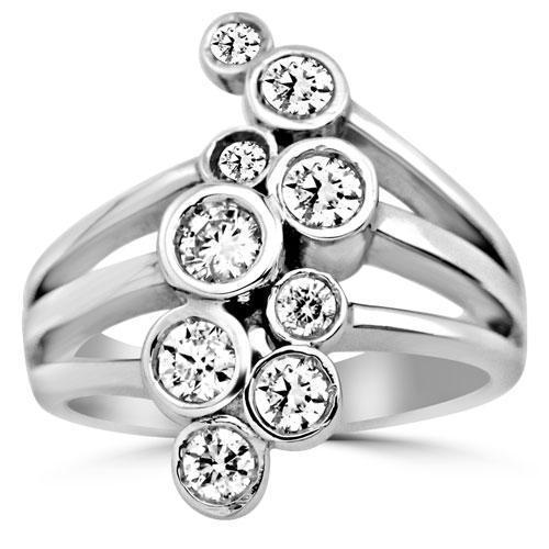 14K Solid White Gold Womens Diamond Cocktail Ring 0.79 Ctw