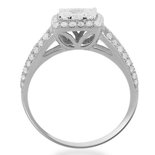 14K Solid White Gold Womens Diamond Cocktail Ring 0.94 Ctw