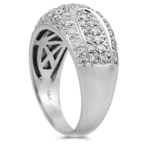 14K Solid White Gold Womens Diamond Cocktail Ring 1.00 Ctw