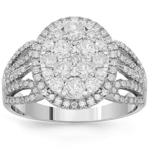 14K Solid White Gold Womens Diamond Cocktail Ring 1.36 Ctw