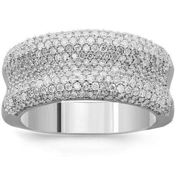 14K Solid White Gold Womens Diamond Cocktail Ring 1.45 Ctw