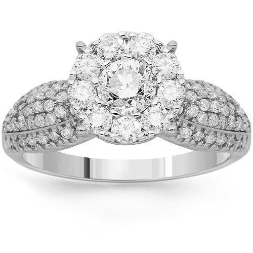 14K Solid White Gold Womens Diamond Cocktail Ring 1.49 Ctw