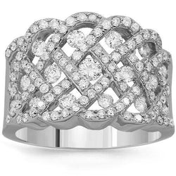 14K Solid White Gold Womens Diamond Cocktail Ring 1.53 Ctw
