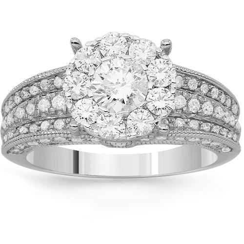 14K Solid White Gold Womens Diamond Cocktail Ring 1.91 Ctw