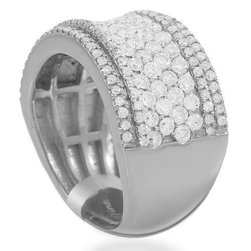 14K Solid White Gold Womens Diamond Cocktail Ring 1.92 Ctw