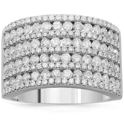 14K Solid White Gold Womens Diamond Cocktail Ring 2.09 Ctw