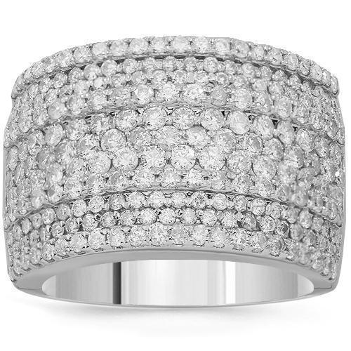 14K Solid White Gold Womens Diamond Cocktail Ring 2.41 Ctw