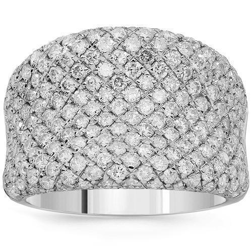 14K Solid White Gold Womens Diamond Cocktail Ring 2.58 Ctw
