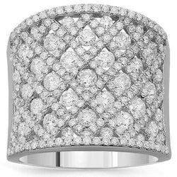 14K Solid White Gold Womens Diamond Cocktail Ring 2.79 Ctw