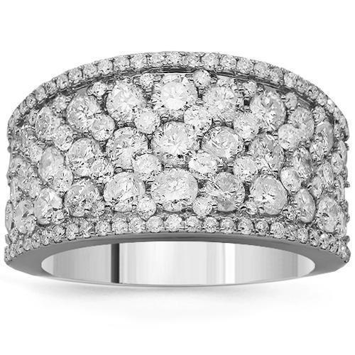 14K Solid White Gold Womens Diamond Cocktail Ring 3.25 Ctw