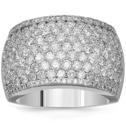 14K Solid White Gold Womens Diamond Cocktail Ring 3.68 Ctw