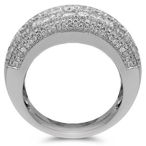 14K Solid White Gold Womens Diamond Cocktail Ring 4.18 Ctw