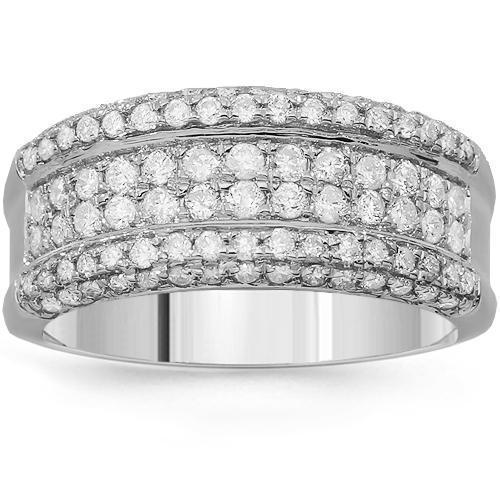 14K Solid White Gold Womens Diamond Ring 1.02 Ctw