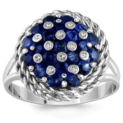 14K Solid White Gold Womens Diamond Ring with Blue Sapphires 1.12 Ctw