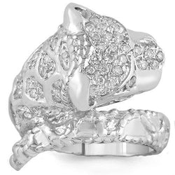 14K Solid White Gold Womens Diamond Tiger Animal Ring 0.55 Ctw