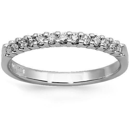 14K Solid White Gold Womens Diamond Wedding Ring Band 0.25 Ctw