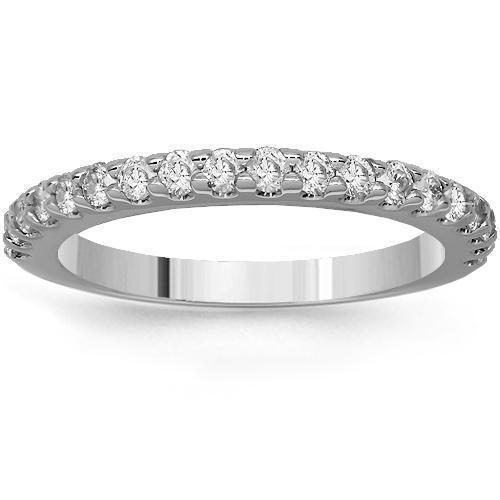 14K Solid White Gold Womens Diamond Wedding Ring Band 0.53 Ctw