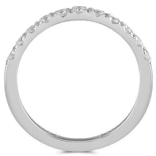 14K Solid White Gold Womens Diamond Wedding Ring Band 0.59 Ctw