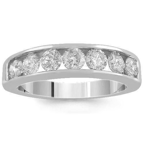 14K Solid White Gold Womens Diamond Wedding Ring Band 0.70 Ctw