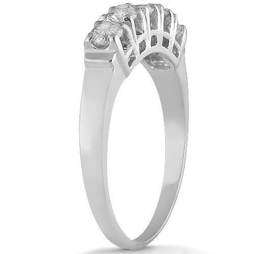 14K Solid White Gold Womens Diamond Wedding Ring Band 0.75 Ctw