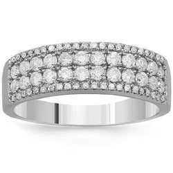 14K Solid White Gold Womens Diamond Wedding Ring Band 0.78 Ctw