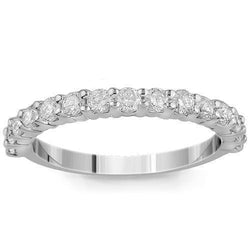 14K Solid White Gold Womens Diamond Wedding Ring Band 0.85 Ctw