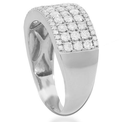 14K Solid White Gold Womens Diamond Wedding Ring Band 1.05 Ctw