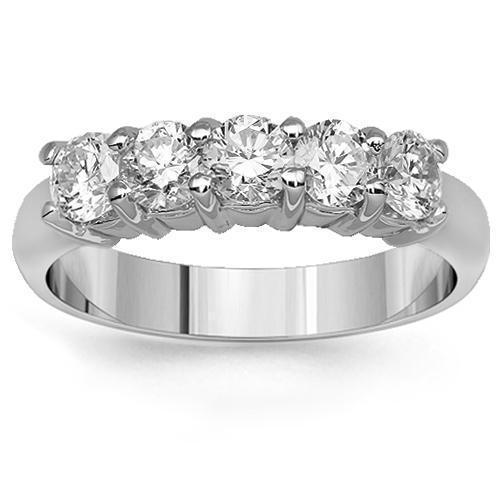 14K Solid White Gold Womens Five Stone Diamond Anniversary Ring 1.07 Ctw