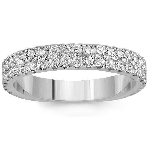 14K Solid White Gold Womens Two Row Diamond Wedding Ring Band 1.35 Ctw