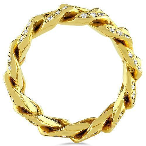 14K Solid Yellow Gold Diamond Cuban Link Ring 2.50 Ctw
