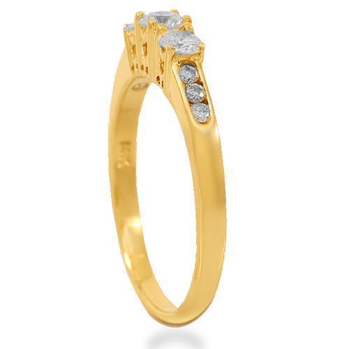 14K Solid Yellow Gold Diamond Engagement Ring 0.85 Ctw