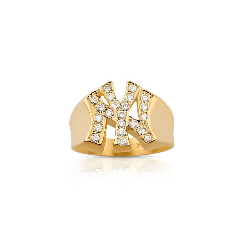 14K Solid Yellow Gold Diamond Pinky NY Yankee Ring 0.60 Ctw