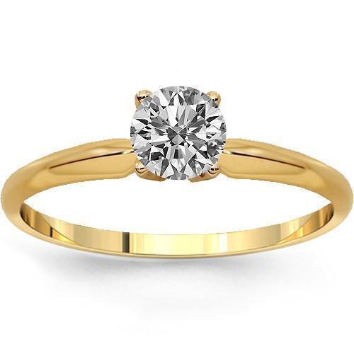 14K Solid Yellow Gold Diamond Solitaire Engagement Ring 0.41 Ctw