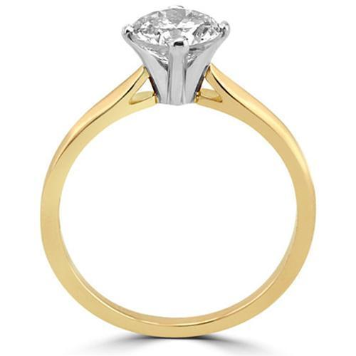 14K Solid Yellow Gold Diamond Solitaire Engagement Ring 1.42 Ctw