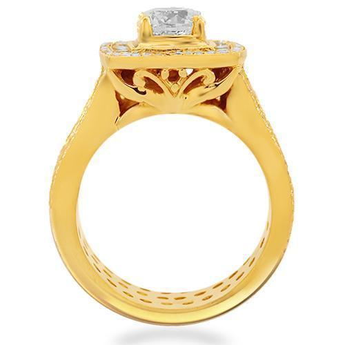 14K Solid Yellow Gold Mens Custom Diamond Ring 8.20 Ctw
