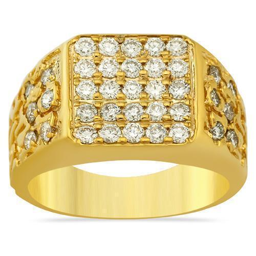 14K Solid Yellow Gold Mens Diamond Nugget Ring 2.50 Ctw