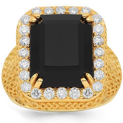 14K Solid Yellow Gold Mens Diamond Onyx Ring 1.50 Ctw