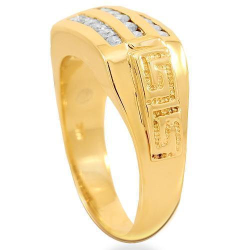 14K Solid Yellow Gold Mens Diamond Pinky Ring 0.55 Ctw