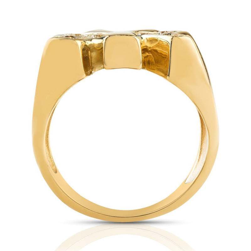 14K Solid Yellow Gold Mens Diamond Pinky Yankee Ring 0.15 Ctw