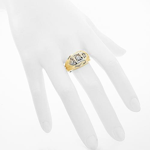 14K Solid Yellow Gold Mens Diamond Ring 0.50 Ctw