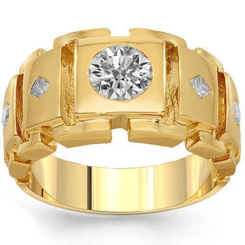 14K Solid Yellow Gold Mens Diamond Ring 1.35 Ctw