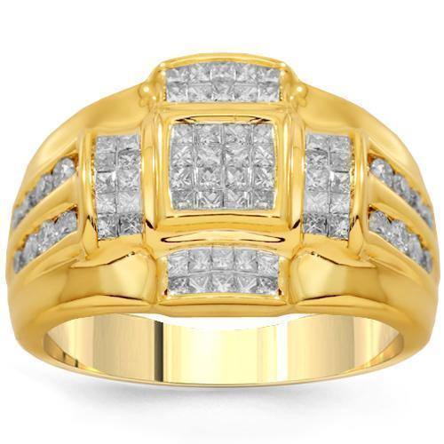 14K Solid Yellow Gold Mens Diamond Ring 1.75 Ctw