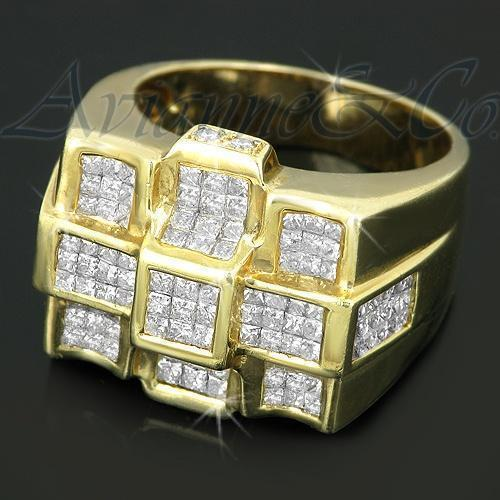 14K Solid Yellow Gold Mens Diamond Ring 3.31 Ctw